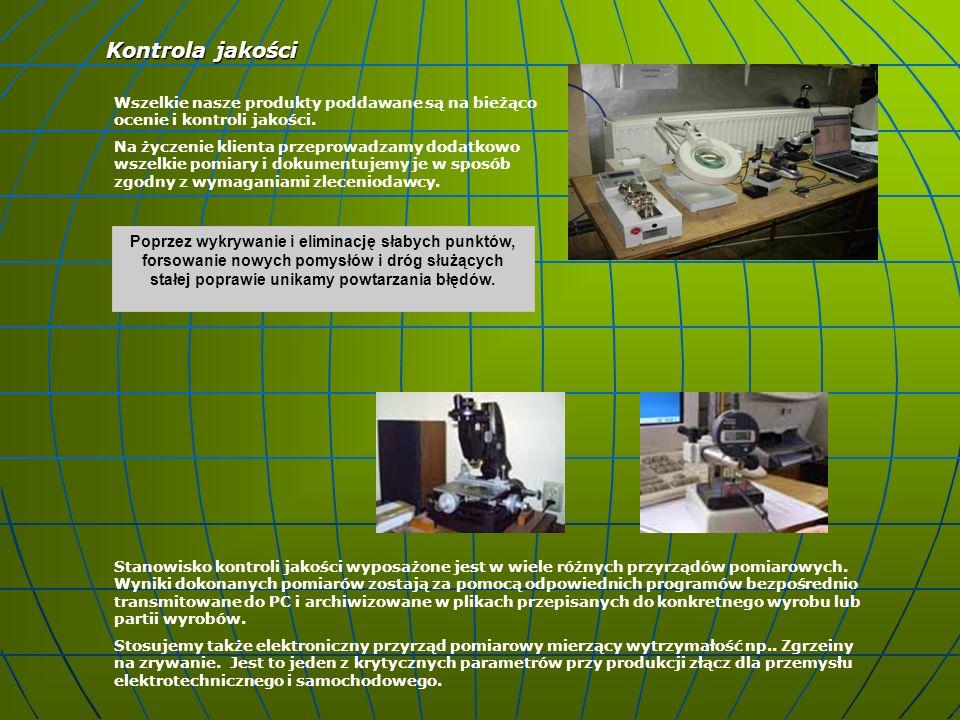 Kontrola jakości Wszelkie nasze produkty poddawane są na bieżąco ocenie i kontroli jakości.