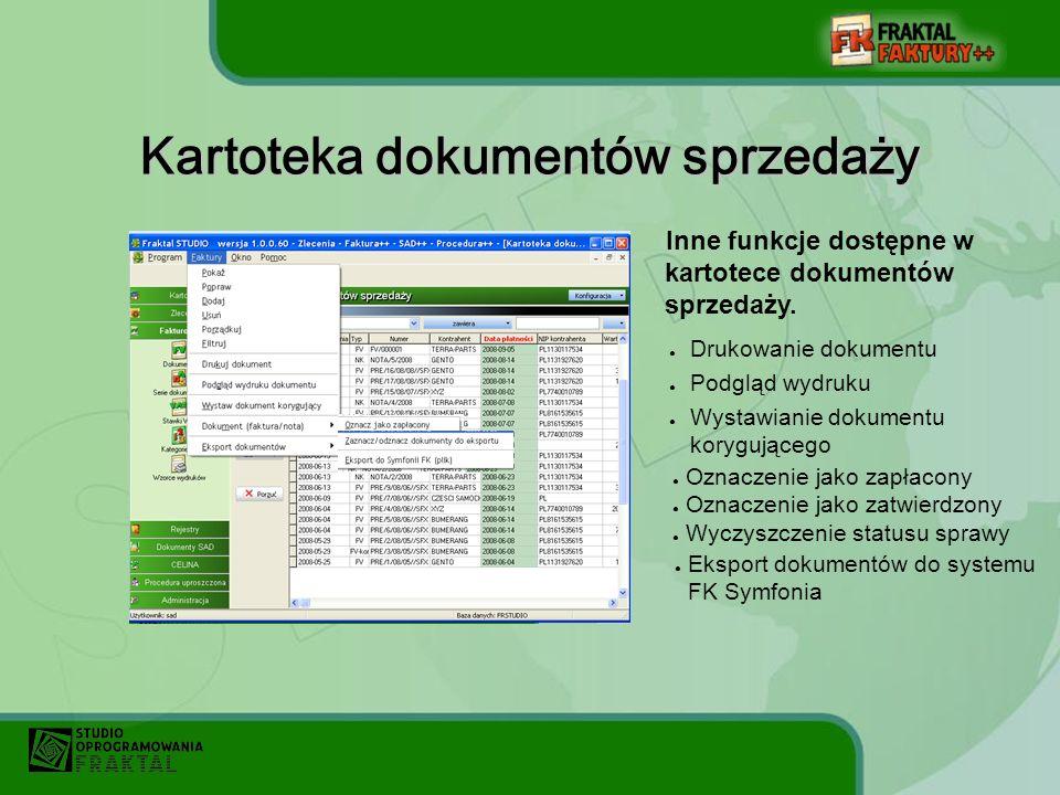 Kartoteka dokumentów sprzedaży