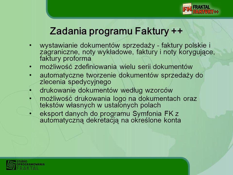 Zadania programu Faktury ++