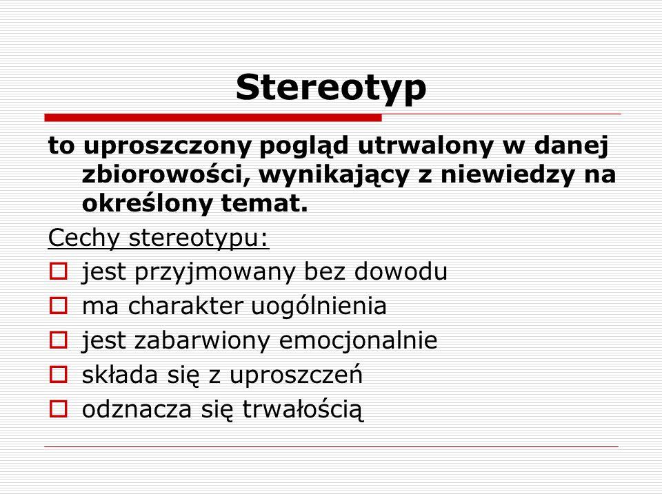 Stereotyp to uproszczony pogląd utrwalony w danej zbiorowości, wynikający z niewiedzy na określony temat.