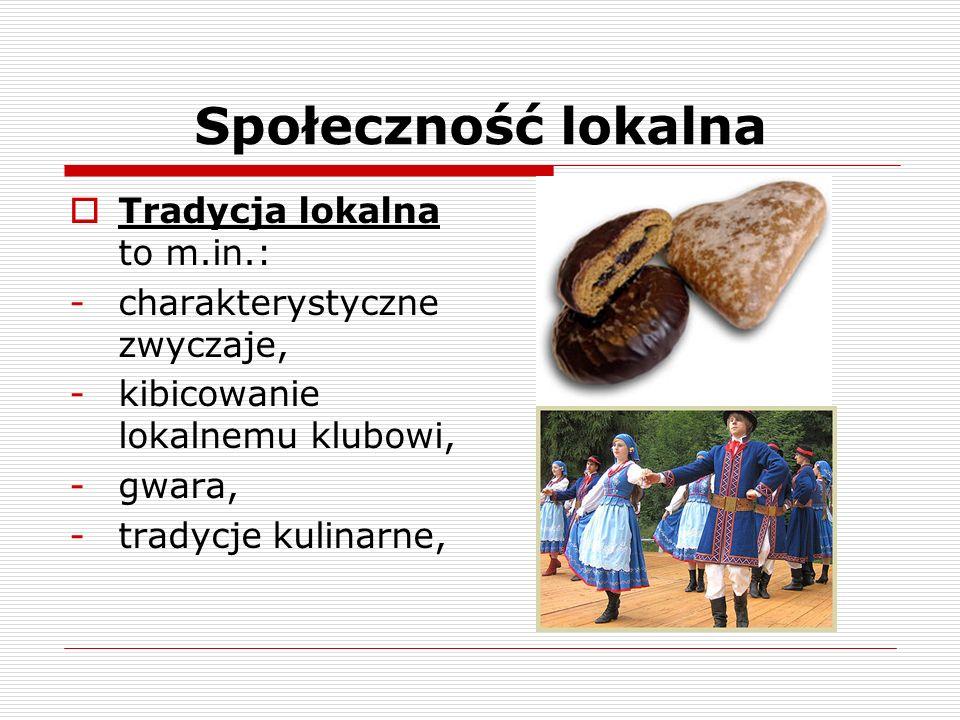 Społeczność lokalna Tradycja lokalna to m.in.: