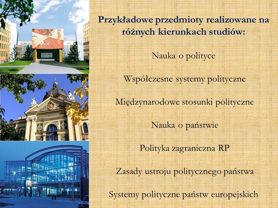 Przykładowe przedmioty realizowane na różnych kierunkach studiów: