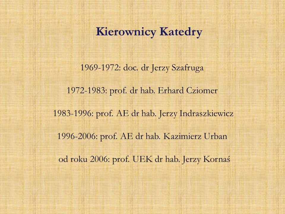 Kierownicy Katedry 1969-1972: doc. dr Jerzy Szafruga