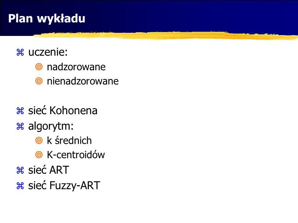 Plan wykładu uczenie: sieć Kohonena algorytm: sieć ART sieć Fuzzy-ART