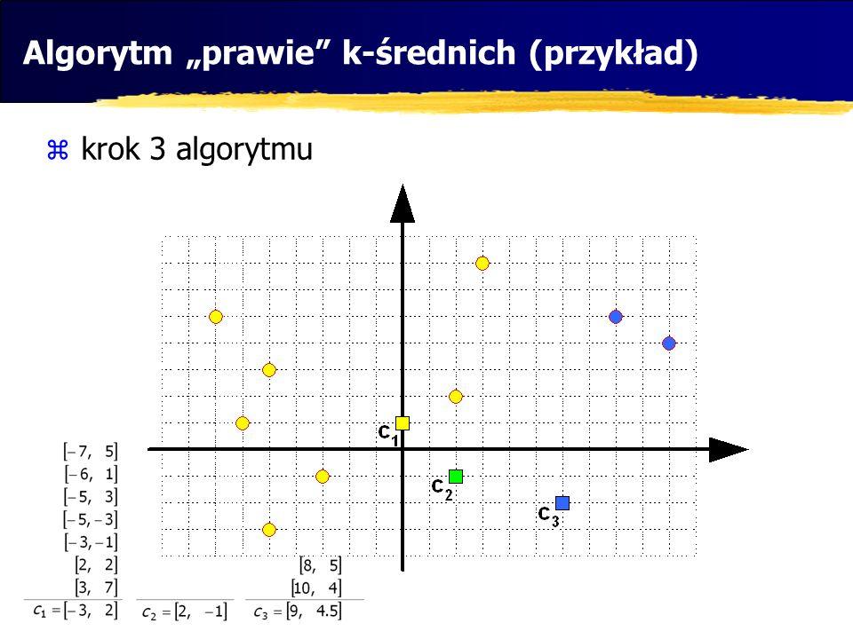 """Algorytm """"prawie k-średnich (przykład)"""
