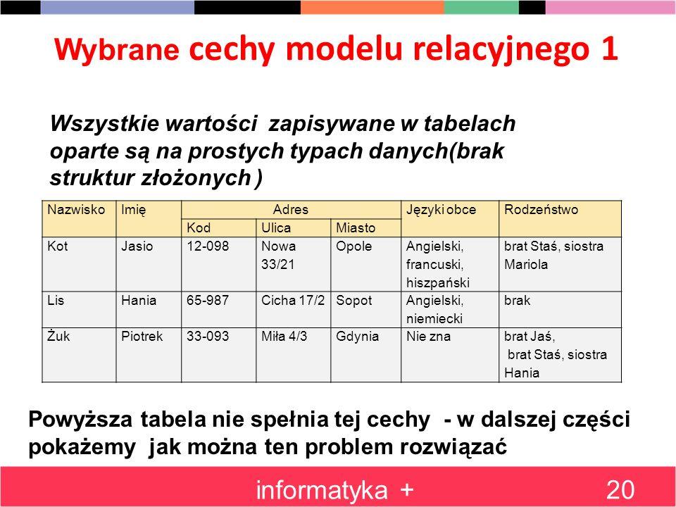 Wybrane cechy modelu relacyjnego 1