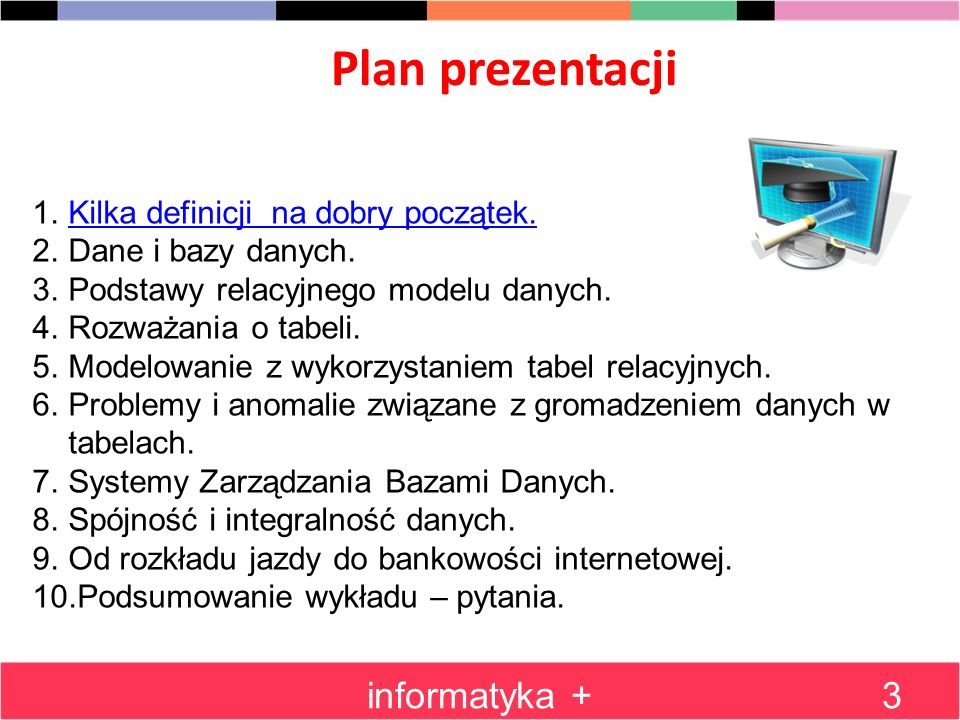Plan prezentacji informatyka + Kilka definicji na dobry początek.