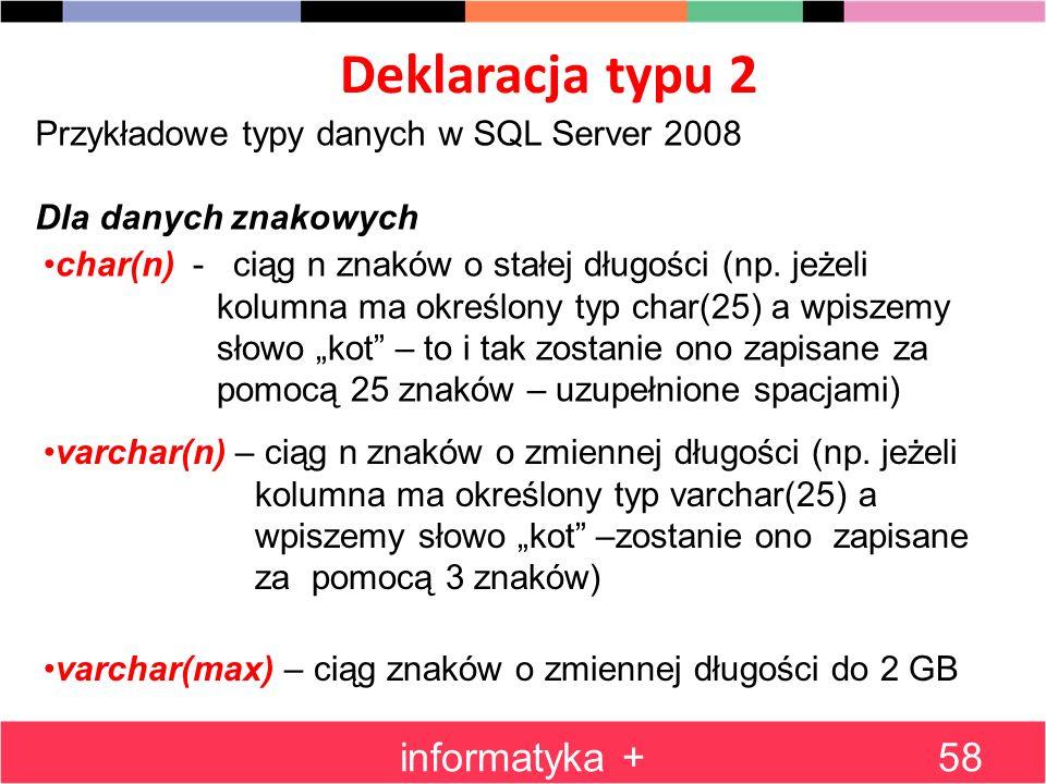 Deklaracja typu 2 informatyka +