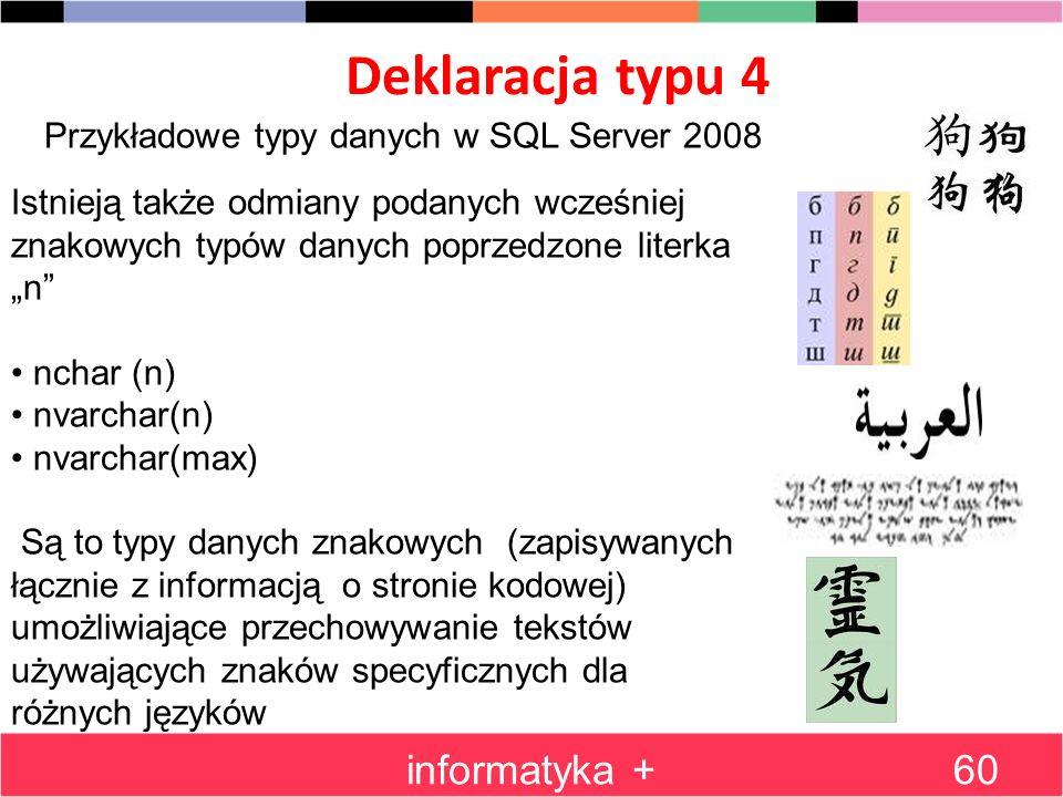 Deklaracja typu 4 informatyka +