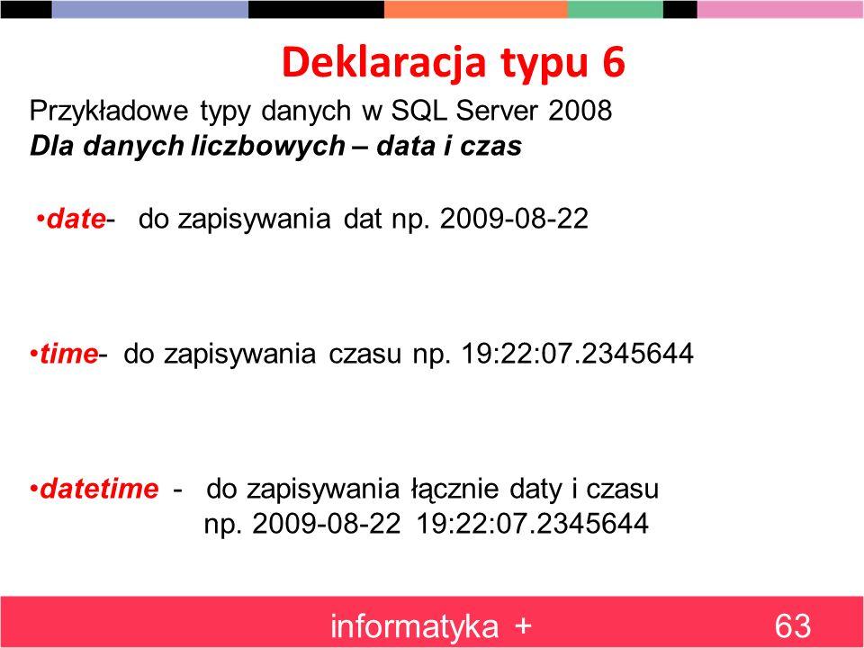 Deklaracja typu 6 informatyka +