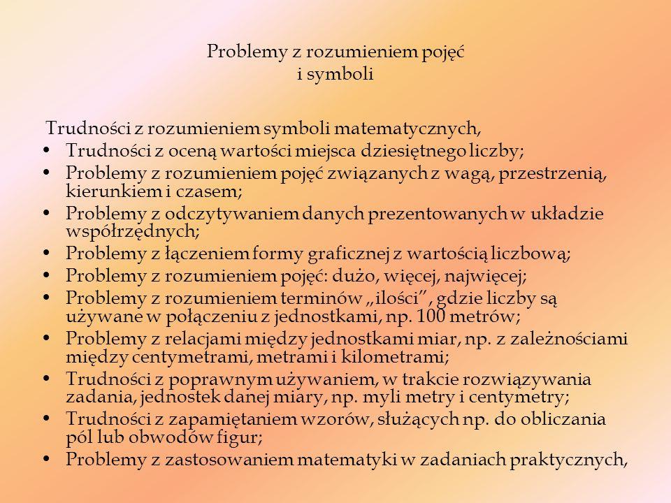 Problemy z rozumieniem pojęć i symboli
