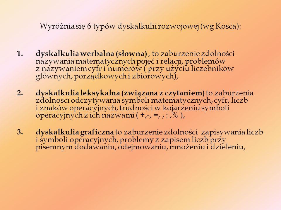 Wyróżnia się 6 typów dyskalkulii rozwojowej (wg Kosca):