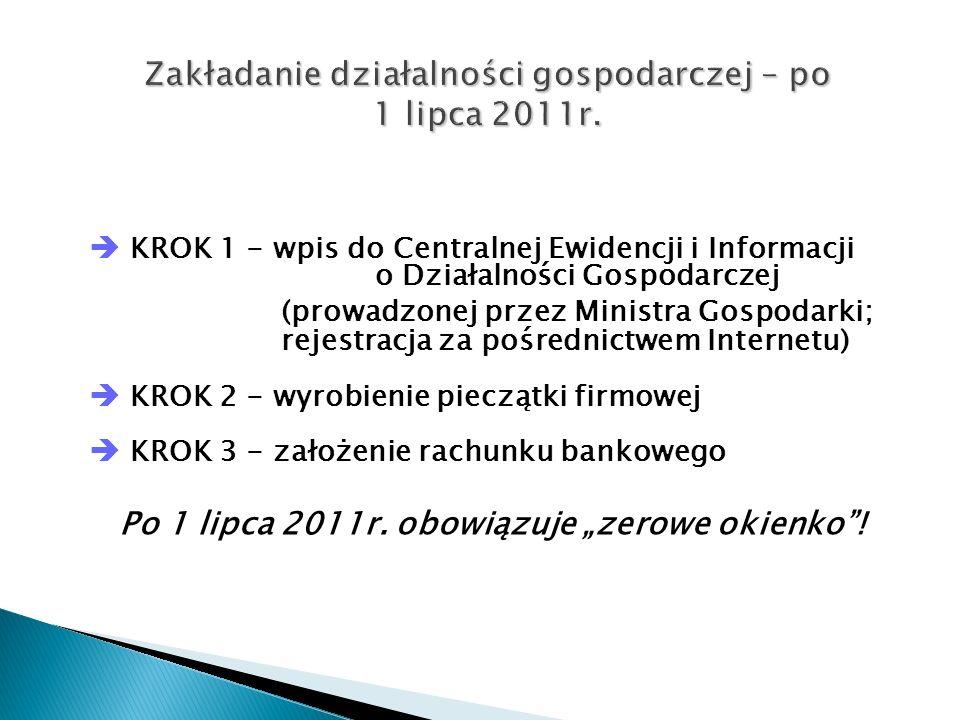 Zakładanie działalności gospodarczej – po 1 lipca 2011r.