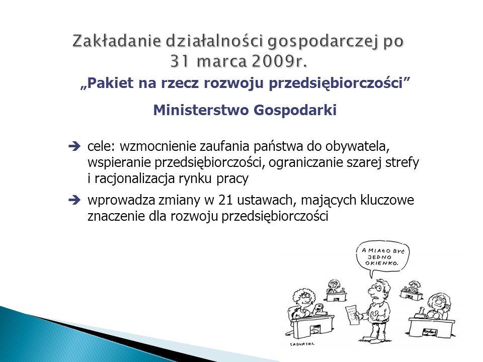 Zakładanie działalności gospodarczej po 31 marca 2009r.