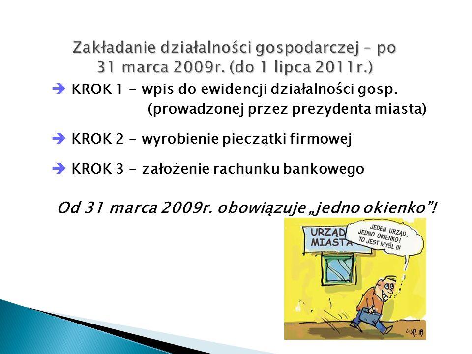 """Od 31 marca 2009r. obowiązuje """"jedno okienko !"""