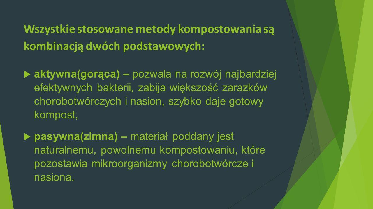 Wszystkie stosowane metody kompostowania są kombinacją dwóch podstawowych: