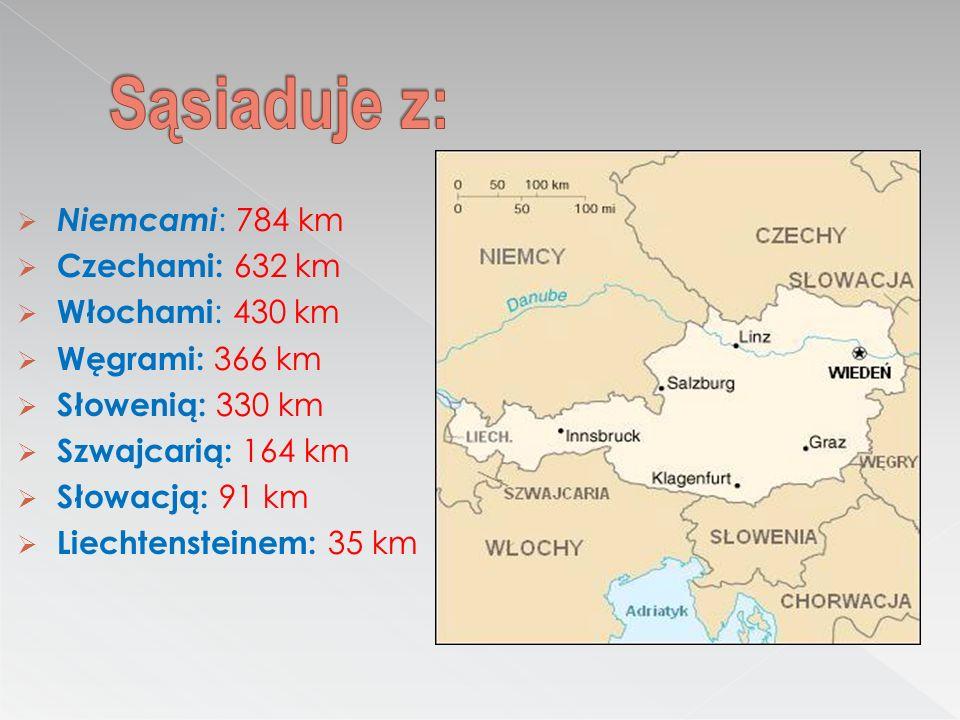 Sąsiaduje z: Niemcami: 784 km Czechami: 632 km Włochami: 430 km