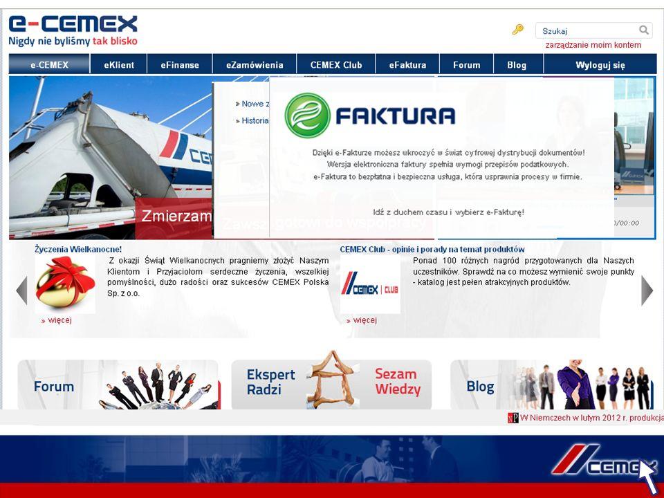 Serwis e-CEMEX jest ciągle rozwijany i doskonalony.