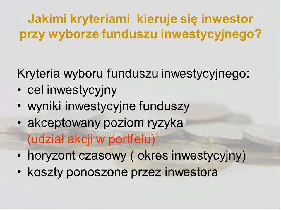 Jakimi kryteriami kieruje się inwestor przy wyborze funduszu inwestycyjnego