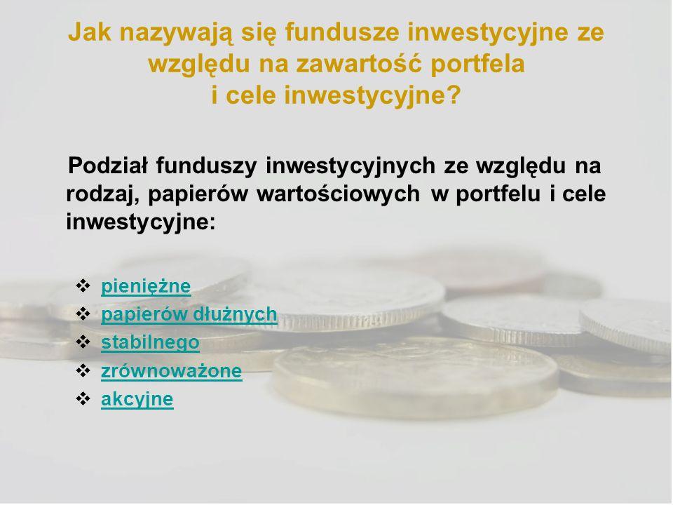 Jak nazywają się fundusze inwestycyjne ze względu na zawartość portfela i cele inwestycyjne