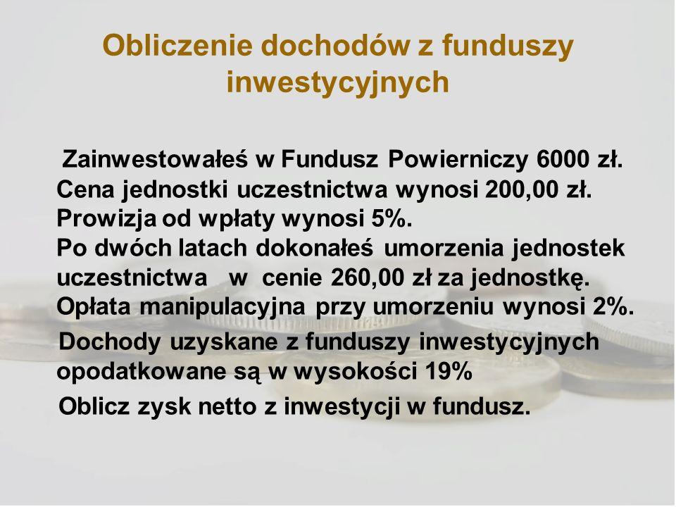 Obliczenie dochodów z funduszy inwestycyjnych