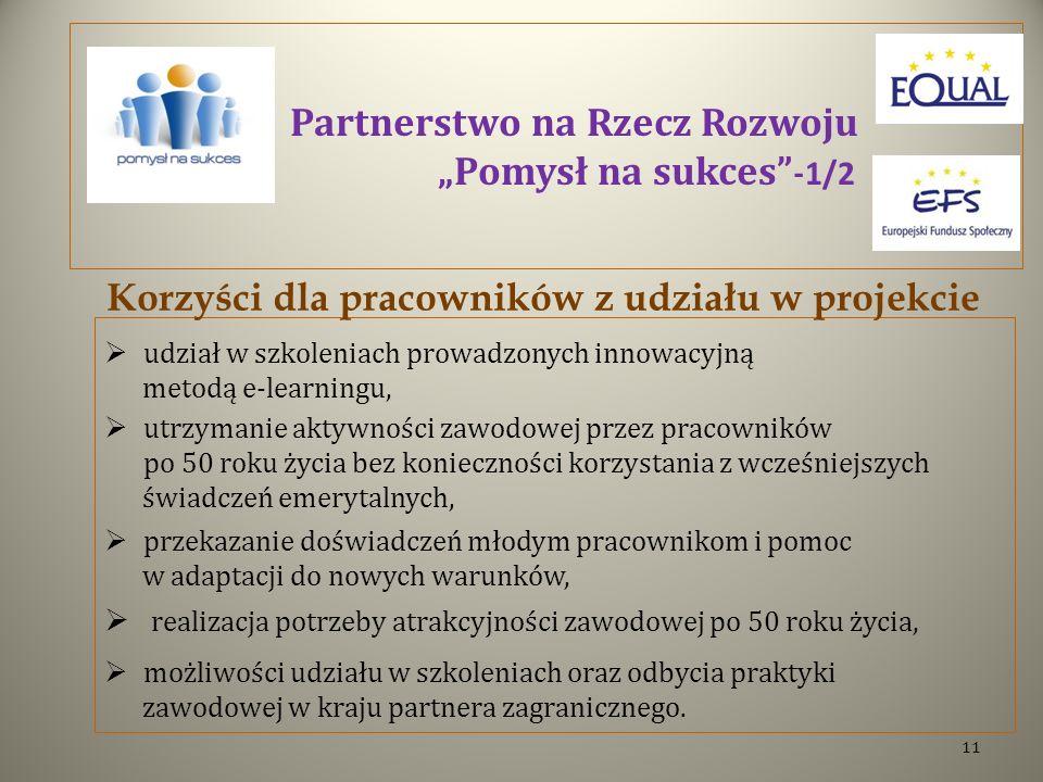"""Partnerstwo na Rzecz Rozwoju """"Pomysł na sukces -1/2"""