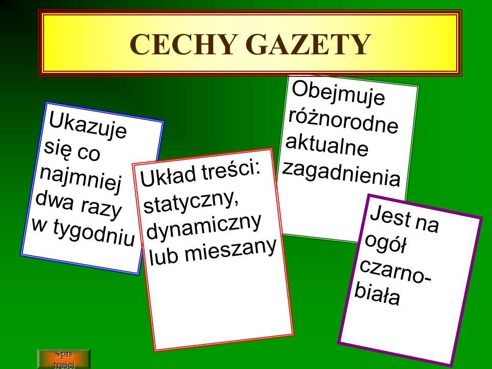 CECHY GAZETY Obejmuje różnorodne aktualne zagadnienia