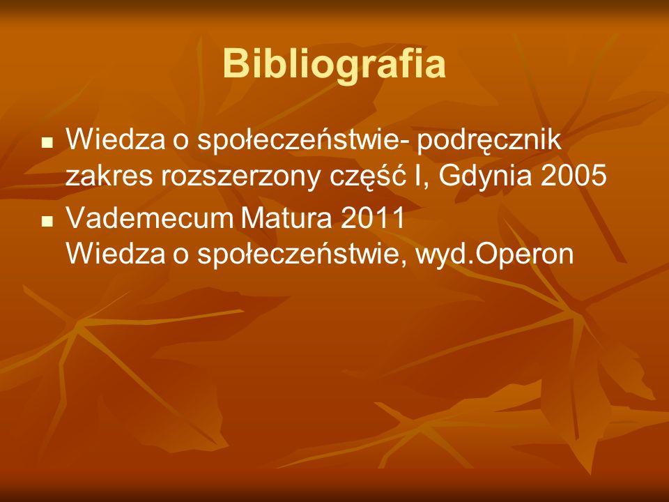 Bibliografia Wiedza o społeczeństwie- podręcznik zakres rozszerzony część I, Gdynia 2005.