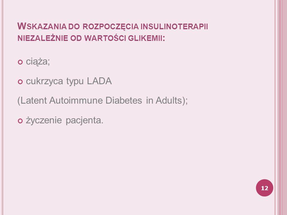 Wskazania do rozpoczęcia insulinoterapii niezależnie od wartości glikemii: