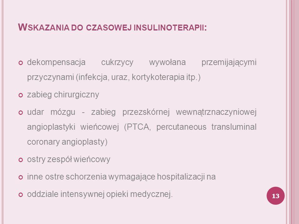 Wskazania do czasowej insulinoterapii: