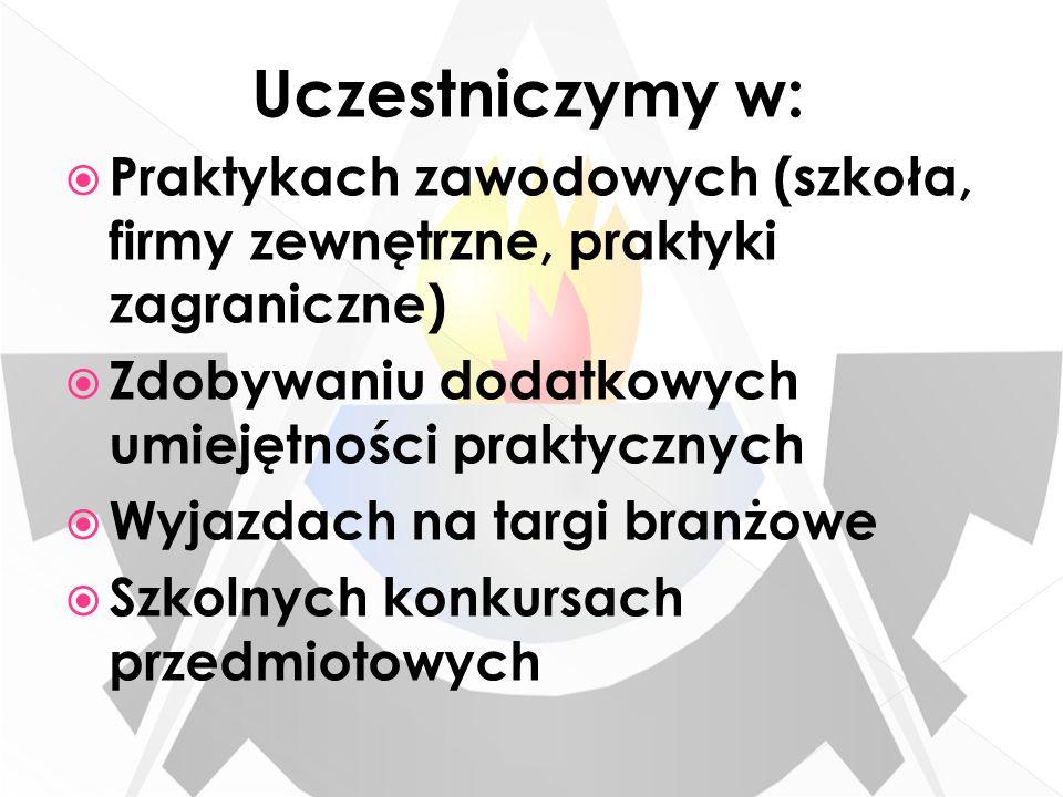 Uczestniczymy w: Praktykach zawodowych (szkoła, firmy zewnętrzne, praktyki zagraniczne) Zdobywaniu dodatkowych umiejętności praktycznych.