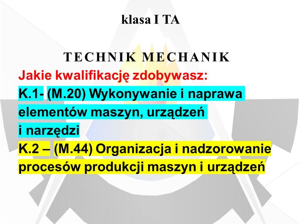 klasa I TA TECHNIK MECHANIK. Jakie kwalifikację zdobywasz: K.1- (M.20) Wykonywanie i naprawa elementów maszyn, urządzeń i narzędzi.