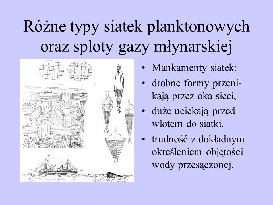 Różne typy siatek planktonowych oraz sploty gazy młynarskiej