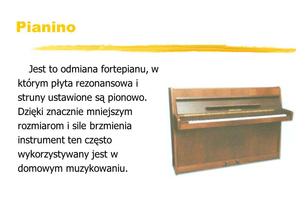 Pianino którym płyta rezonansowa i struny ustawione są pionowo.