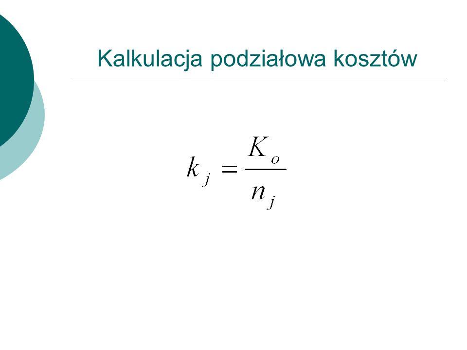Kalkulacja podziałowa kosztów