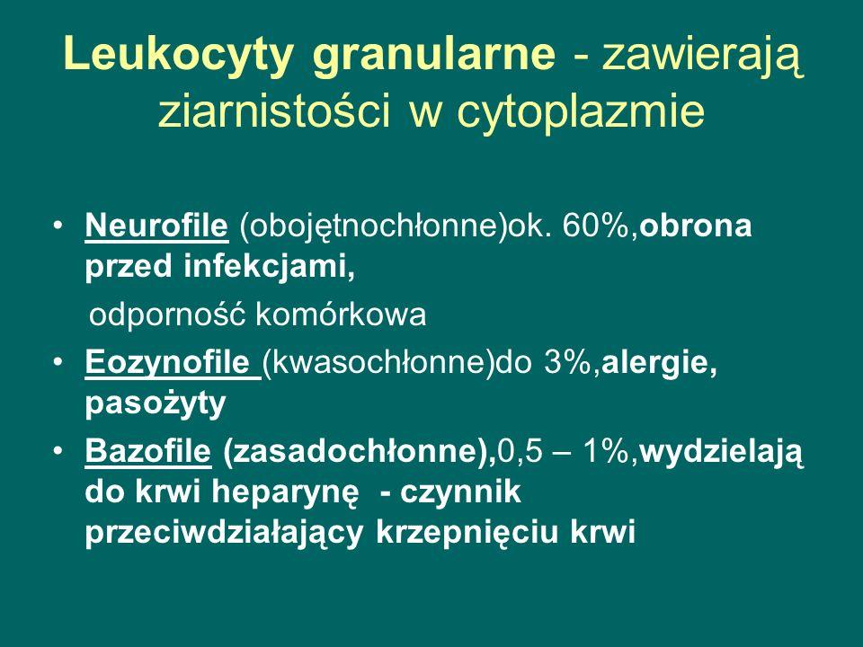 Leukocyty granularne - zawierają ziarnistości w cytoplazmie