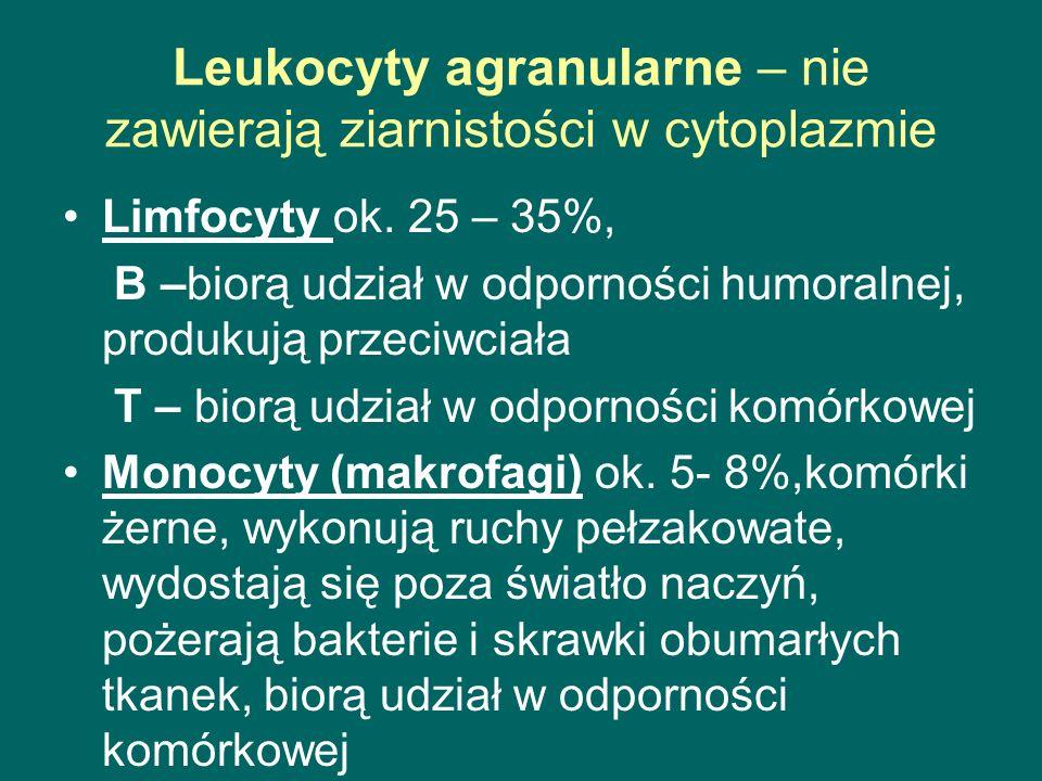 Leukocyty agranularne – nie zawierają ziarnistości w cytoplazmie