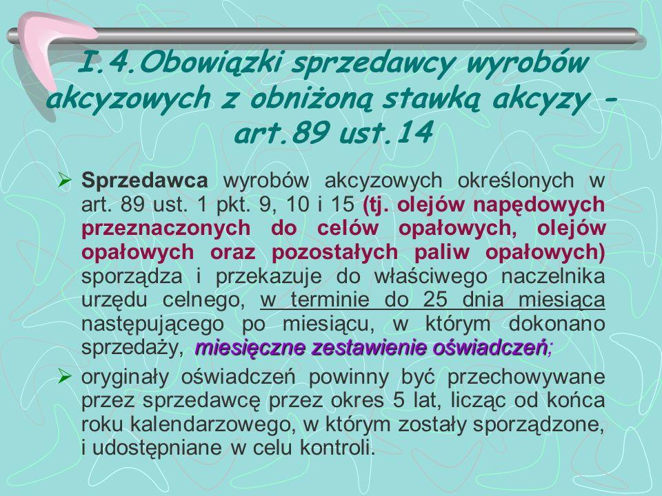 I.4.Obowiązki sprzedawcy wyrobów akcyzowych z obniżoną stawką akcyzy - art.89 ust.14