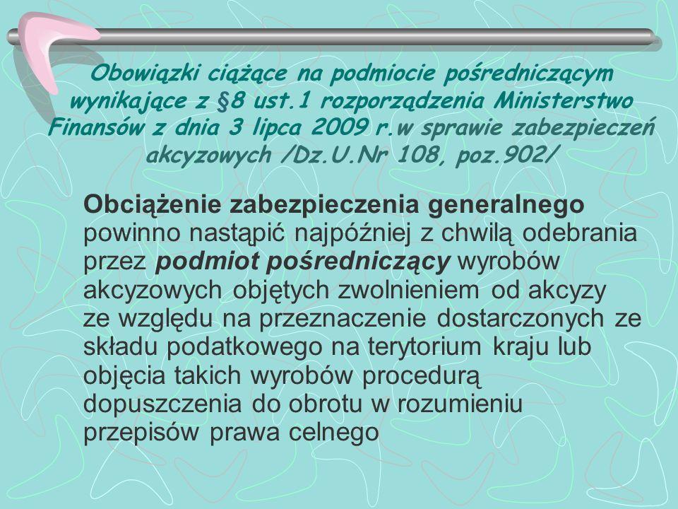 Obowiązki ciążące na podmiocie pośredniczącym wynikające z §8 ust