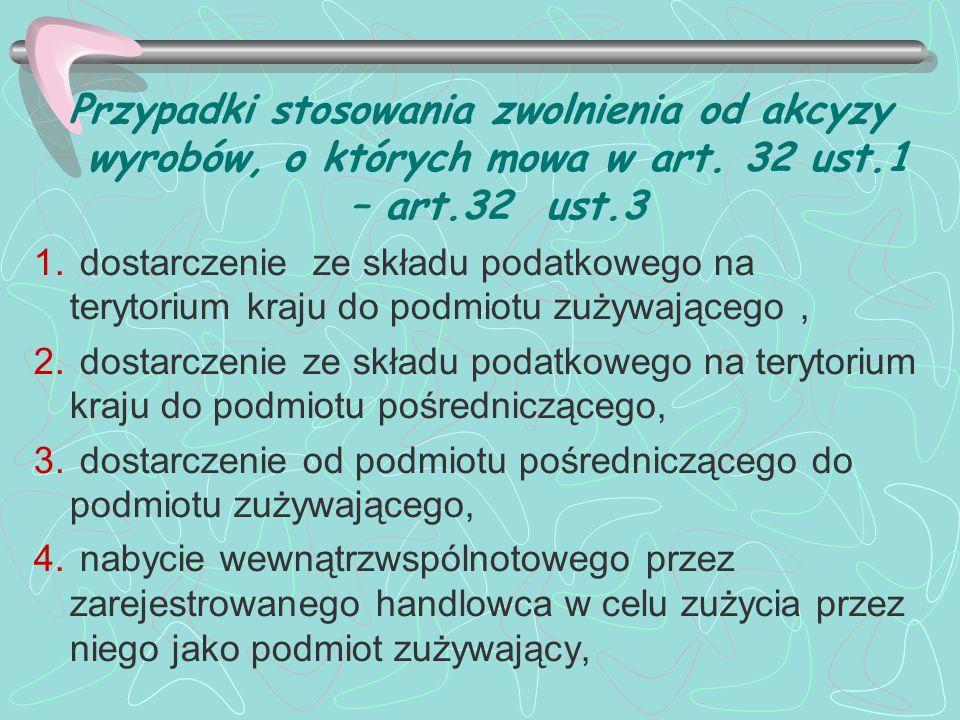 Przypadki stosowania zwolnienia od akcyzy wyrobów, o których mowa w art. 32 ust.1 – art.32 ust.3
