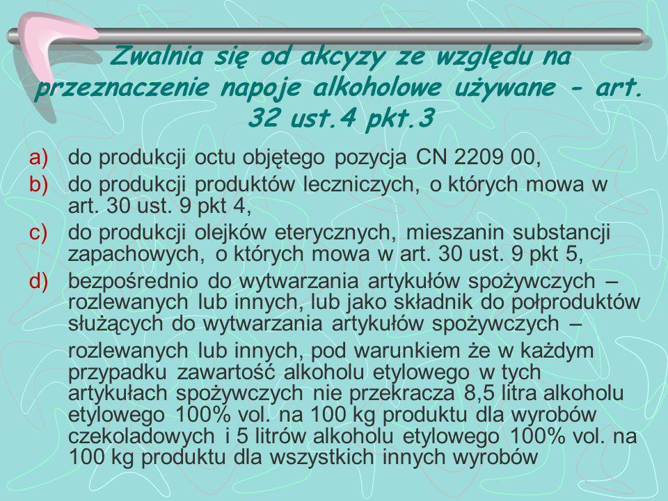 Zwalnia się od akcyzy ze względu na przeznaczenie napoje alkoholowe używane - art. 32 ust.4 pkt.3