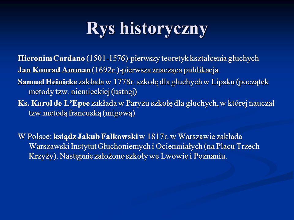 Rys historyczny Hieronim Cardano (1501-1576)-pierwszy teoretyk kształcenia głuchych. Jan Konrad Amman (1692r.)-pierwsza znacząca publikacja.