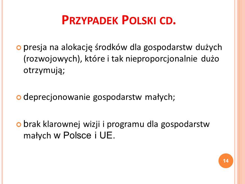 Przypadek Polski cd. presja na alokację środków dla gospodarstw dużych (rozwojowych), które i tak nieproporcjonalnie dużo otrzymują;