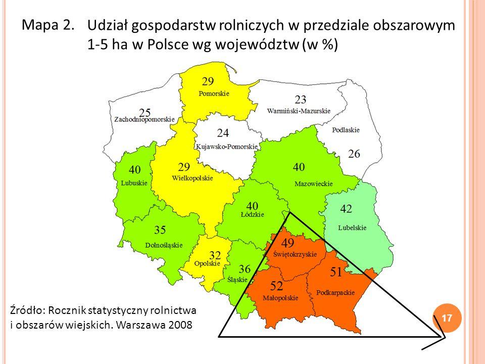 Mapa 2. Udział gospodarstw rolniczych w przedziale obszarowym 1-5 ha w Polsce wg województw (w %)