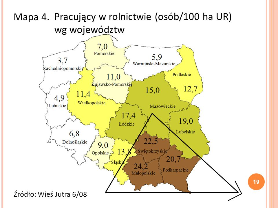 Pracujący w rolnictwie (osób/100 ha UR) wg województw