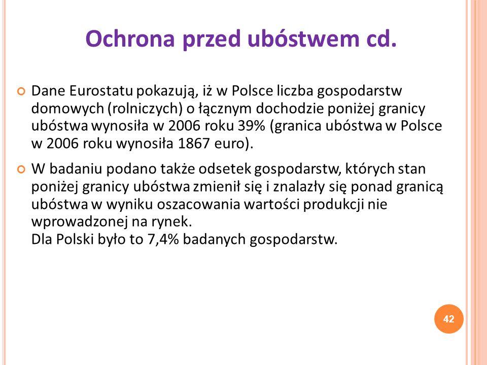 Ochrona przed ubóstwem cd.