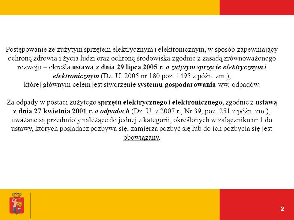 Postępowanie ze zużytym sprzętem elektrycznym i elektronicznym, w sposób zapewniający ochronę zdrowia i życia ludzi oraz ochronę środowiska zgodnie z zasadą zrównoważonego rozwoju – określa ustawa z dnia 29 lipca 2005 r. o zużytym sprzęcie elektrycznym i elektronicznym (Dz. U. 2005 nr 180 poz. 1495 z późn. zm.),