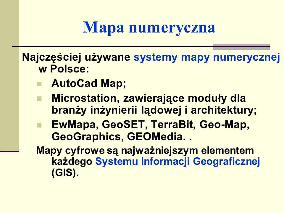 Mapa numeryczna Najczęściej używane systemy mapy numerycznej w Polsce: