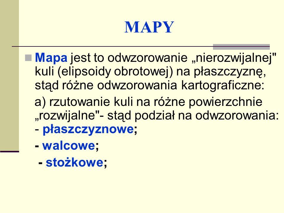 """MAPY Mapa jest to odwzorowanie """"nierozwijalnej kuli (elipsoidy obrotowej) na płaszczyznę, stąd różne odwzorowania kartograficzne:"""