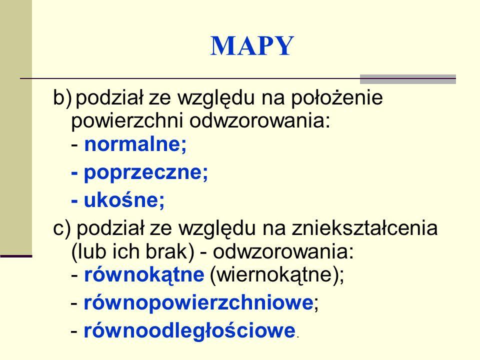 MAPY b) podział ze względu na położenie powierzchni odwzorowania: - normalne; - poprzeczne; - ukośne;